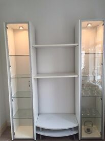 White Glass Display Cabinet/TV Stand/Tall Chest of Drawers with Lights