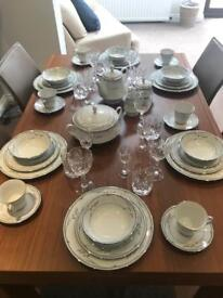 Legendary by Noritake, Chelsea Morn 6 piece China set & 6 piece Crystal glass set