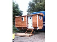 New Shepherds hut. Double bed, seating for four, table,kitchen unit,electricity & is fully insulated