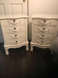 **Toulouse White 4 Draw Bedside Table**