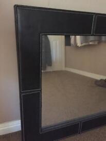 Dark brown leather framed mirror