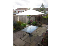Metal and Glass Six-Seater Garden Furniture Set