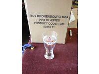 Kronenbourg glasses - pint and half pint