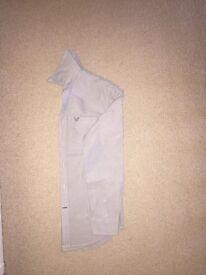 American Eagle Casual Shirt, Plain Grey, Dark Grey Logo, Long Sleeve, US XS / UK S