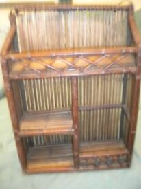 A BAMBOO WALL SHELF 2OX12X6 INCHES
