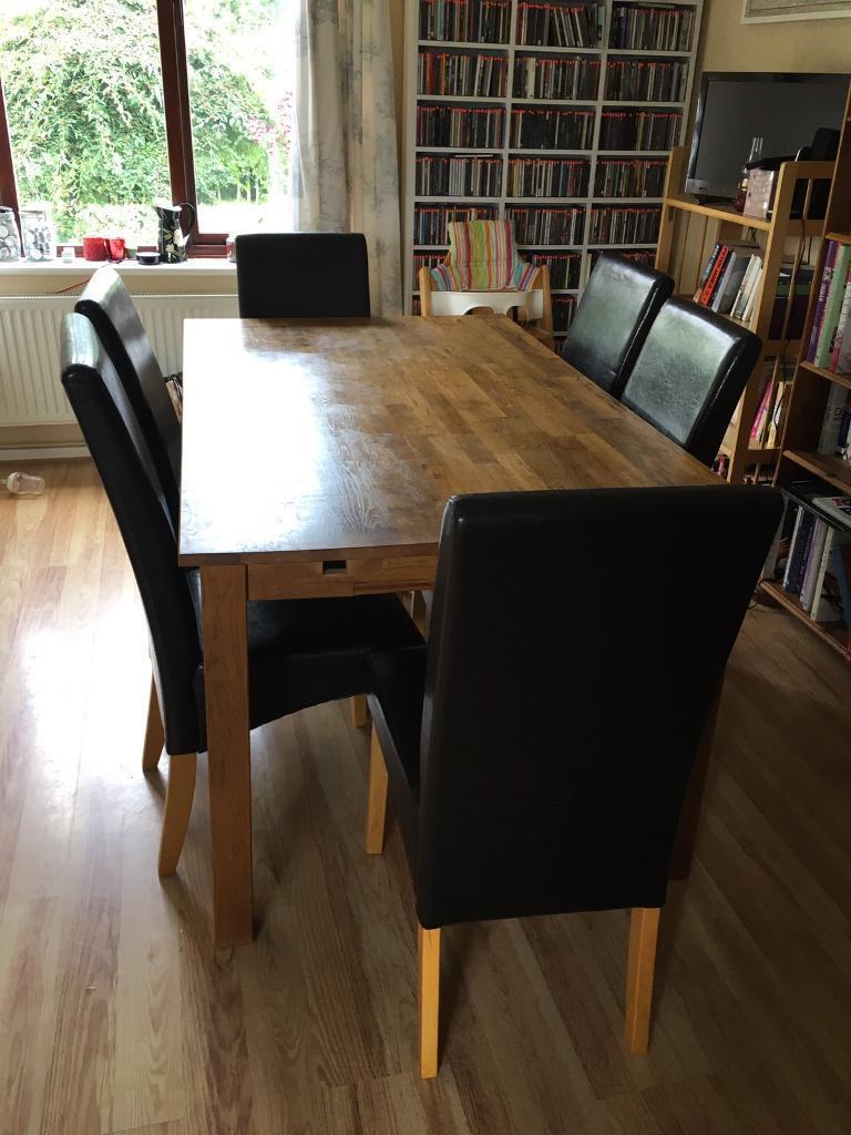 Furniture Village Dining Tables 6 faux dark brown leather dining chairs furniture village | in