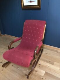Pair of solid wood slipper antique rocking arm chairs