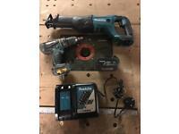 Makita 18v drill and reciprocating saw cordless