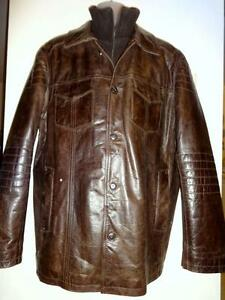 44 Danier Canada Mens Leather Jacket Coat Zip Insert for Warm Collar Brown New Distressed // Very Warm Padded Lining