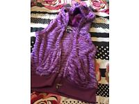 Women's/girls gilet sleeveless furry hooded top
