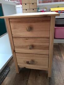 Pine bedside cabinet drawers
