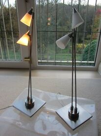PAIR OF MODERN SATIN STEEL FINISH TABLE LIGHTS WITH WHITE SHADES