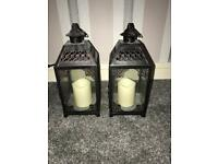 Two artificial candle towers