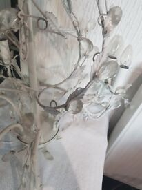 6 arm leaf and crystal chandelier used cream 1 crystal missing but not noticable collection only