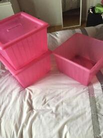 IKEA pink stacking boxes