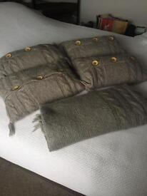 4 Wool knitted cushions + knitted throw.