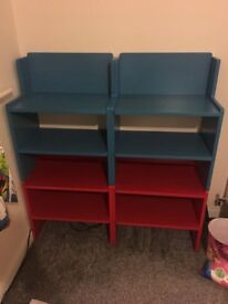 Ikea stacking shelves in red and blue