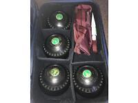 Bowls set, waterproofs, bowls carrier, polish and bag