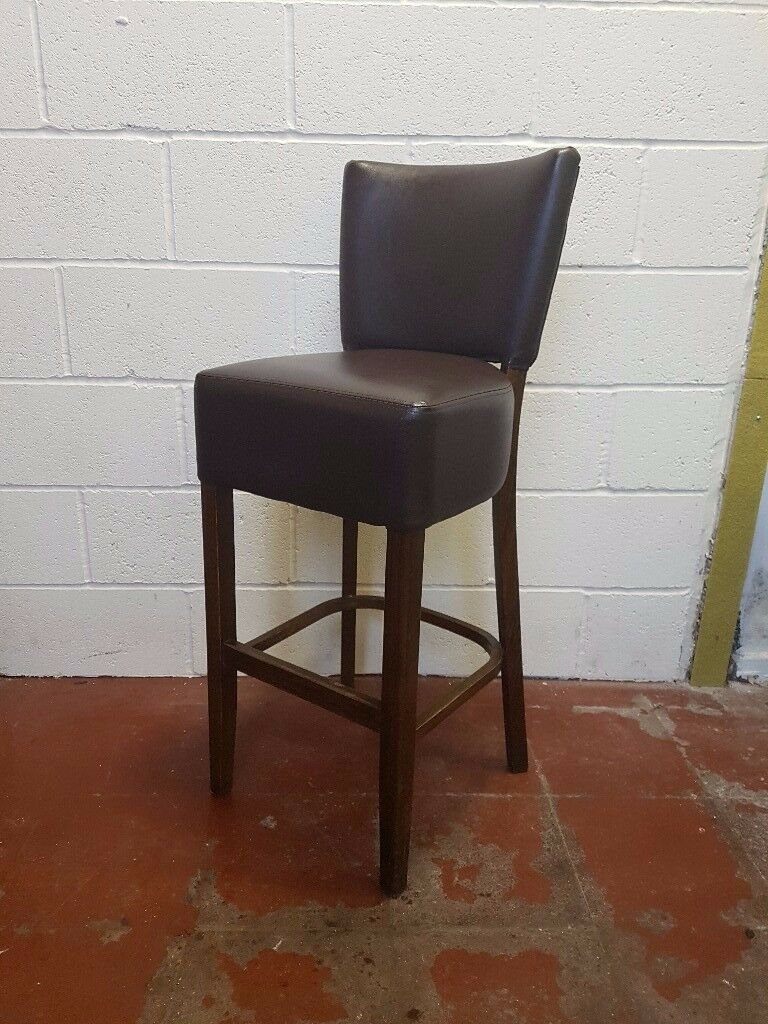 Pub Restaurant Commercial Bar Stool Brown Leather FREE MANCHESTER DELIVERY