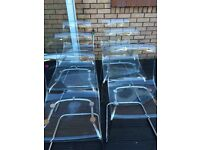 6 ikea tobias clear Perspex dining room chairs