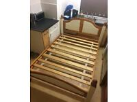 Beautiful double antique pine n cream bed frame