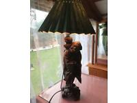 Wooden carved oriental table lamp with shade