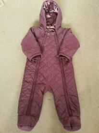 M&S purple pramsuit 9-12 months