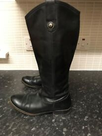 Frye Knee High Black Leather Boots UK 6.5