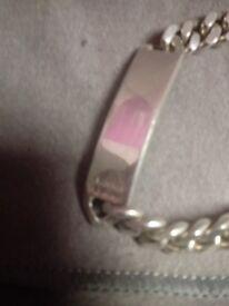 Sterling silver curb id bracelet