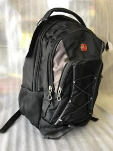 Swiss Gear SWA2401 Shiny Polyester Tablet Backpack With Bungee, Black/Grey(New Other)