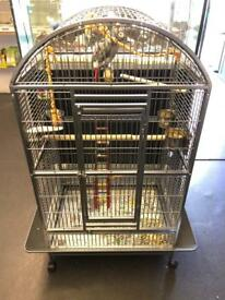 BRAND NEW PARROT CAGE IN A BEAUTIFUL GREY FINISH.