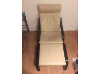 Ikea Poang Armchair Comfortable Dark Brown Wood Cream Leather, With Footstool Excellent Condition