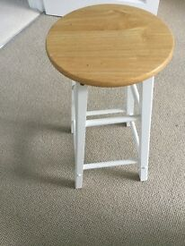 Stool, white painted wood frame and wooden seat