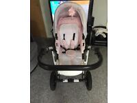 Gorgeous white and baby pink leopard print pram