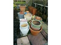Selection of garden flower pots