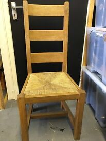 X2 LARGE OAK DINING CHAIRS WITH RUSH SEATS.