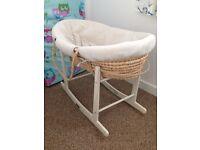 Mamas & papas Moses basket / stand / sheets / mattress