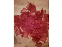 90 Red organza bags