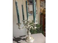 Silver plate 5 sconce Candelabra with candles