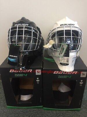 Bauer S17 NME 4 Ice Hockey SR Goalie Mask! Helmet Facemask Black White Senior Black And White Goalie Mask
