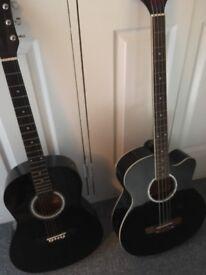 Black acoustic guitar and black acoustic base guitar