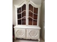 White 2pc Antique armoire with glazed top 5 shelves locks and key
