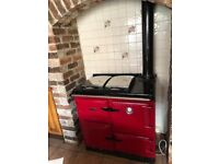 Red Rayburn Oil Fired Range Cooker in excellent condition