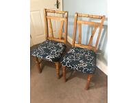 2 Stylish Solid Pine Dark Blue Kitchen Chairs / Dining Room Chairs H39in/99cm W19.5in/50cm R362