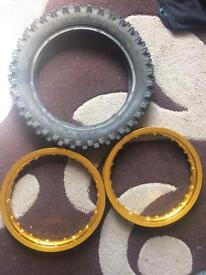 Pitbike rims and tyre