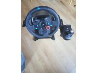 Logitech g29 with wheel shifter and peddle