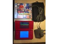 Nintendo ds console red with charger and game perfect condition