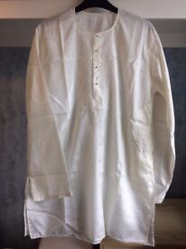 Mens Embroidered Silk Short Kurta from Northern India