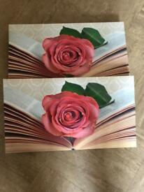 Two rose canvases