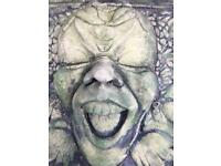 Scream Face Garden Stone Ornament Wall Hanging Gurning Statue. Used